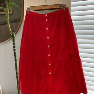 Red Madewell Button up midi skirt